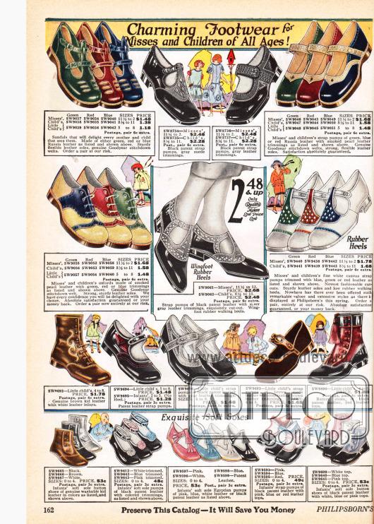 Schuhe und kurze Stiefeletten aus Veloursleder, Leder und Lackleder für kleine Mädchen und Kleinkinder mit flachen Gummisohlen und in unterschiedlichen farbigen Aufmachungen.