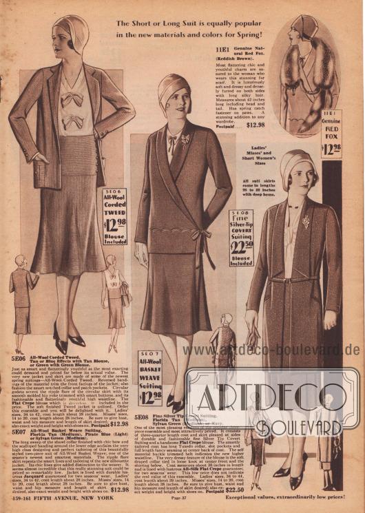 Kostüme und Ensembles in der neuen Mode&#x3B; meist getragen mit dreiviertellangen Jacken.