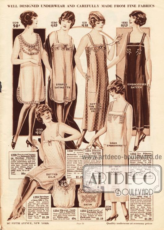 """Unterhemden, Unterröcke und Damenuntertaillen aus Nainsook (besonders leichter Musselin), """"Satinette"""" (Satin) oder Seide für Frauen.Die Damenunterwäsche zeigt Spitzenränder, Hohlsaumstickerei, von Hand ausgeführte Stickerei, kleine Schleifchen und Abnäher. Die Damenuntertaillen am unteren Seitenrand besitzen ein elastisches Bündchen unterhalb der Brust."""