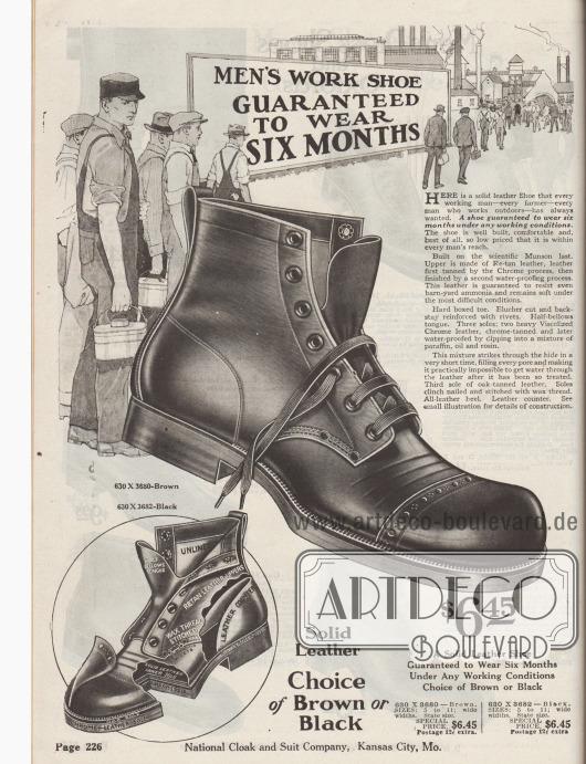 """""""Arbeitsschuh für Männer – Garantierte Haltbarkeit für sechs Monate"""" (engl. """"Men's Work Shoe – Guaranteed to Wear Six Months""""). Schwerer, solider Arbeitsschuh mit hohem Schaft aus gegerbtem, wasserabweisendem Leder, bestellbar in den Farben Braun oder Schwarz zum Preis von 6,45 Dollar. Das Leder ist mit dem """"Chrome process"""" gegerbt worden und wiedersteht sogar Ammoniak, wie es auf Bauernhöfen und Farmen vorkommt. Genietetes Modell mit Derbyschaftschnitt und offener Schnürung – in den USA fälschlich als Blücher betitelt. Verstärkte Kappe mit Lyralochung. Genaue Konstruktionszeichnung unten links."""