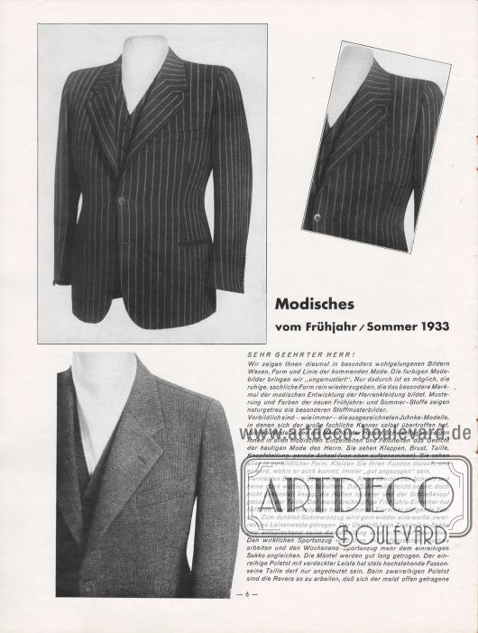 Artikel: Henschke, Bruno, Modisches vom Frühjahr/Sommer 1933. Der Artikel, der die modische Linie für Anzüge, Mäntel für Herren und sportliche Kleidung zusammenfasst, wird von drei fotografischen Nahaufnahmen von zwei Sakkos ergänzt. Fotos: Hänsel-Werke.