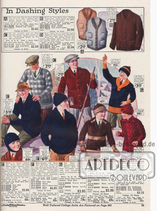 Winterkleidung aus Wolle für Männer und Jungen wie Mützen, Pullover, Jacken und Westen.