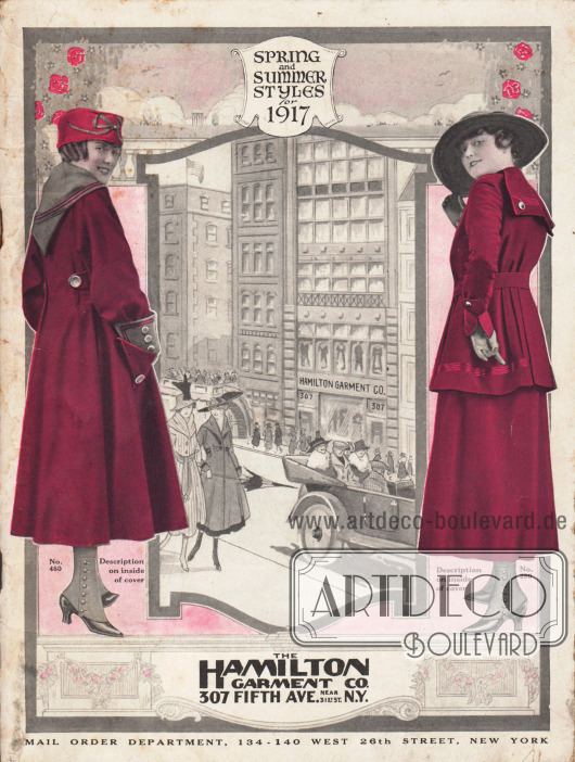Cover des Frühjahr/Sommer Katalogs des Waren- und Versandhauses Hamilton Garment Company aus New York City, New York, USA von 1917. Foto: Hamilton Garment Co.