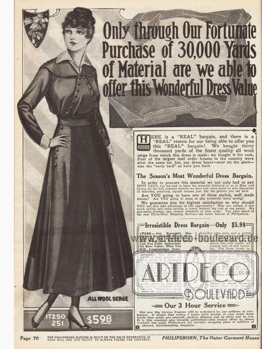"""""""Only through Our Fortunate Purchase of 30,000 Yards of Material are we able to offer this Wonderful Dress Value"""" (dt. """"Nur durch den Einkauf von fast 27.500 Meter Stoff sind wir in der Lage diese großartigen Kleider-Werte anzubieten"""") Damenkleid aus reinem Woll-Serge mit einem großen Frontpaneel, das mit vielen Knöpfen besetzt ist."""