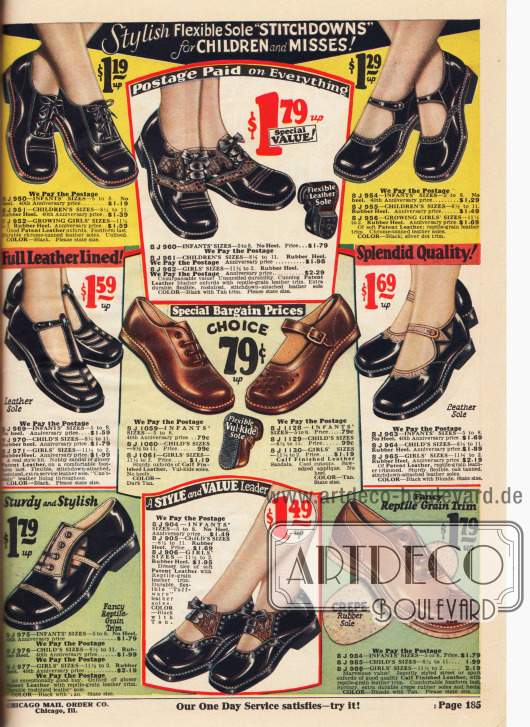 Schuhe mit Schnallen, Oxfords und Sandalen aus Kalbsleder und Lackleder für Kleinkinder und kleine Mädchen bis etwa 8 Jahre mit flachen Absätzen und mit besonders flexiblen und biegsamen Sohlen. Um die Schuhe aufzuhübschen wurden einige Modelle mit reptilienartig genarbtem Leder kombiniert oder mit Ausstanzungen versehen. Unten rechts ein Two-tone Sportoxford für die Straße oder den Sport.