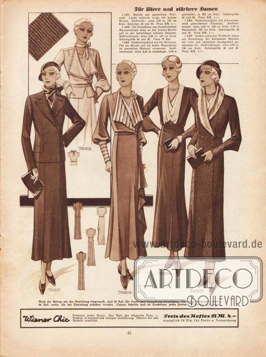 """""""Für ältere und stärkere Damen"""". 6301: Kostüm aus gestreiftem Wollstoff. Leicht taillierte Jacke mit breiten Revers. 6302: Die Schoßbluse aus beigefarbenem Marocain Krepp zeigt an den breiten Revers und an den Aufschlägen schmale Rüschen. 6303: Nachmittagskleid aus lila Marocain. Für die Revers und die hohen Manschetten ist gestreiftes Material verwendet. 6304: Nachmittagskleid aus schwarzem, weiß gemustertem Flamenga. 6305: Grober englischer Wollstoff diente zur Herstellung des kleidsamen Mantels, der vorn und rückwärts durchgehend geschnitten ist."""
