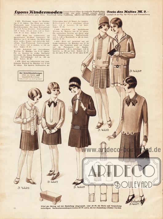 4226: Kleidsamer Anzug für Mädchen von 6 bis 10 Jahren. Die Bluse aus weißer Pongeeseide zeigt Volantverzierung und Säumchengruppen. Der blaue Wollstoffrock ist durch Falten erweitert. 4227: Kleid aus erdbeerrotem und marineblauem Wollstoff kombiniert, für Mädchen von 6 bis 10 Jahren. Die Bluse zeigt einen weißen Kragen und ebensolche Aufschläge. Dazu Plisseerock. 4228: Schulkleid aus marineblauem Wollrips für Mädchen von 8 bis 12 Jahren. Für die Garnitur ist weißer Wollbatist verwendet, der blauen Soutachebesatz aufweist. 4229: Kleid aus rotkariertem und sandfarbenem Wollstoff für Mädchen von 10 bis 14 Jahren. Das karierte Stoffmaterial dient als Besatz des Jumpers. 4230: Schulkleid aus bleufarbenem Wollrips für Mädchen von 10 bis 14 Jahren. Die sandfarbene Garnitur mit Gürtel zeigt rote Blendenverzierung. 4231: Kleid aus kariertem und uni Kasha kombiniert, für Mädchen von 12 bis 16 Jahren. Der Vorderteil greift mit Patten auf die Faltenpartie des Rockes.