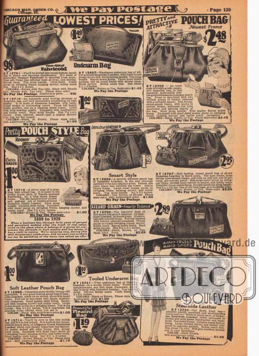 """Handtaschen, Beuteltaschen, Rahmenhandtaschen, Geldbörsen und Schminkbeutel für modebewusste Damen. Die meisten Handtaschen sind aus Echtleder mit Eidechsennarbung und teilweise aus schildkröten- und alligatorenartig genarbtem Lederimitaten. Druck- und Klemmverschlüsse. Die Modelle besitzen mehrere Fächer oder auch einen Metallrahmen. Einige werden mit einem langen Gurt getragen oder werden unter die Achsel gepresst (engl. """"Underarm Bags"""")."""