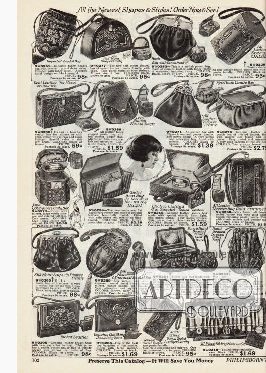 Doppelseite mit kleinen Handtaschen, Beuteln, Geldbörsen, Rahmenhandtaschen, Kosmetikbeuteln, einem Maniküreset und Lederngürteln in verschiedensten Stilen, Formen und Aufmachungen. Die feinen Handtaschen, Beutel und Kosmetiktaschen sind aus Leder oder auch Seide und zeigen Verzierungen wie Stickereien und Applikationen, Quasten oder Motivschließen aus Metall.