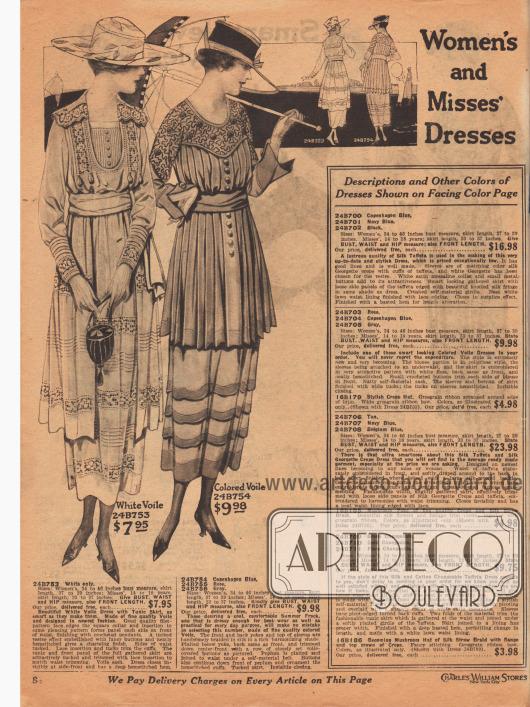 Zwei mondäne Damenkleider aus weißem Voile (Schleierstoff) und wahlweise kopenhagenblauem, rosa oder grauem Voile. Das erste Sommerkleid mit Westeneffekt zeigt ein tunikaartiges Panel, das vorne ausgespart ist. Der quadratische Kragen, Brust, Manschetten und Rock sind mit Hohlnähten und Spitzeneinsätzen ausgestattet. Rock, Paneel und Manschetten mit Biesen. Das zweite Kleid präsentiert eine reich bestickte Schulterpasse. Unterhalb dieser Passe ist das Oberteil bis zur Hüfte rundum plissiert. Frontpaneel mit Knöpfen. Rock mit farblich abstechenden, aber harmonierenden Biesen. Kleid mit unsichtbarem Verschluß.