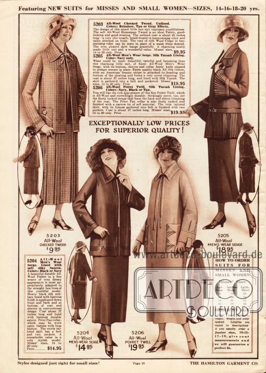 Kostüme aus kariertem Woll-Tweed, Woll-Serge oder Poiret Wolle für 9,95 bis 19,95 Dollar.Die Jacke des ersten Kostüms wird nur über ein kleines Bändchen am Hals zusammengehalten. Aus demselben Material des Bändchens ist auch die Einfassborte hergestellt. Der Rock ist plissiert. Die beiden gleich geschnittenen Kostüme darunter sind mit dunkler bzw. heller Tresse aus Seide verziert. Für den Kragen, die Unterärmel und den Jackenschoß des vierten Modells ist sehr feiner Plisseestoff verwendet worden.