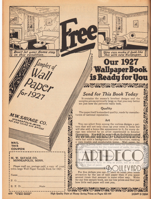 """""""Frei Haus – Unser Tapeten-Musterkatalog für 1927 liegt für Sie bereit"""" (engl. """"Free – Our 1927 Wallpaper Book is Ready for You"""").M. W. Savage warb hier für den neuen Tapetenkatalog, den man frei mit dem links untenstehenden Coupon zum Ausschneiden bestellen konnte."""