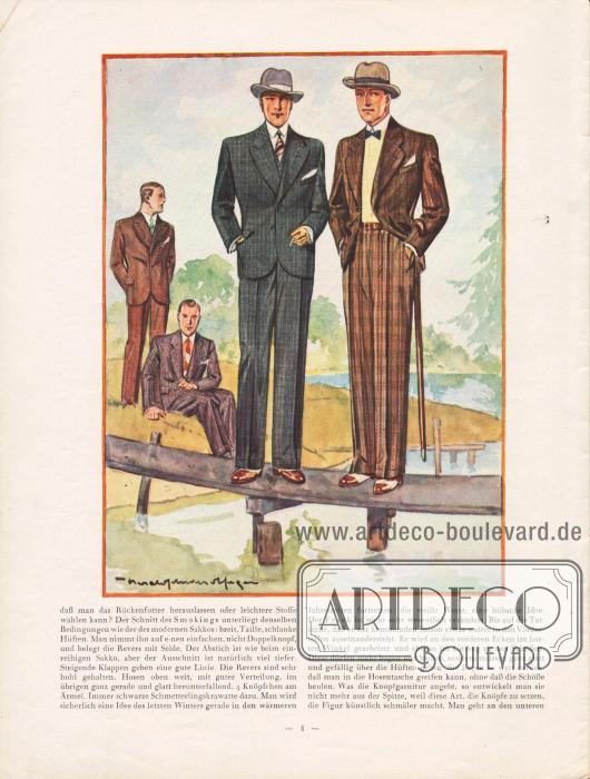 """Artikel: Henschke, Bruno, Die neue Mode für Frühjahr und Sommer 1929. Ein Modebrief. Die Zeichnung zeigt die moderne Herrenmode im Frühling. Im Vordergrund links wird ein einreihiger Sakkoanzug mit zwei Knöpfen und mit steigenden Revers gezeigt, rechts ebenfalls ein einreihiger Sakkoanzug mit fallenden Revers, der auf nur einem Knopf geschlossen wird. Der elegante Schnitt erfolgt nach Maßgabe der aktuellen Idealfigur: """"Breite Schultern, enge Taille und schmale, fließende Hüften"""" (siehe Seite 3). Zeichnung: Harald Schwerdtfeger."""