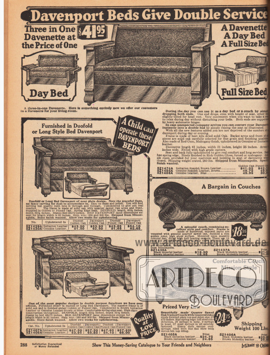 """Ausziehbare Sofas (Davenport) für Besucher oder zum Nachmittagsschlaf, Tagesbetten und Chaiselongues. Oben und links befinden sich dreisitzige Sofas aus massiven Eichengestellen die """"kinderleicht"""" ausklappbar und als Betten nutzbar sind. Die Sofas sind mit Lederimitaten bezogen. Rechts unten sind Chaiselongues (engl. """"couch"""") zu finden die ebenfalls mit massivem, aber elegant geschnitzten Furnieren hergestellt wurden."""