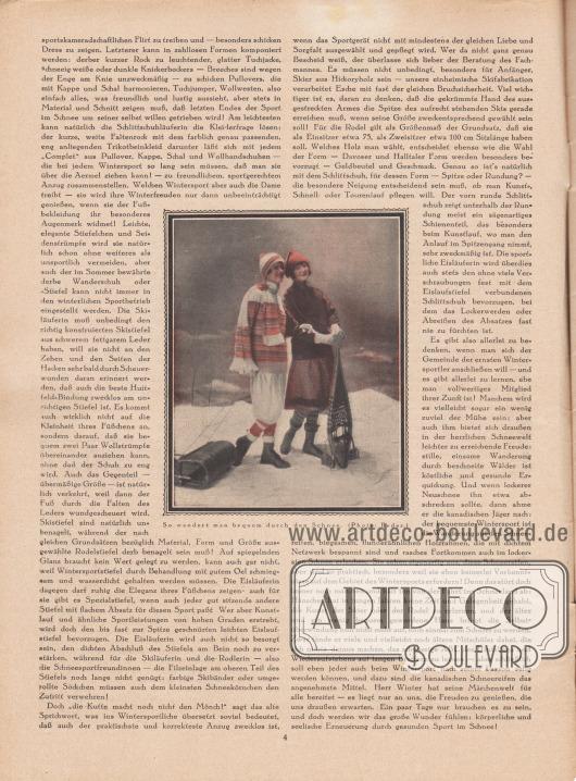 """Artikel: Dahl, Annie, Sportfreuden im Winter.  Im Zentrum des Artikels wird eine Fotografie präsentiert, die zwei Frauen in sportlichen Winterkleidern im Schnee zeigt. Die Bildunterschrift lautet """"So wandert man bequem durch den Schnee"""". Foto: Joel Feder."""