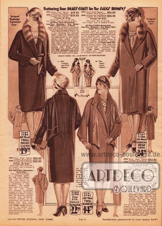 """""""Hier vier elegante Mäntel für die füllige Frau!"""" (engl. """"Featuring Four SMART COATS For The LARGE WOMAN!""""). Höherpreisige Mäntel aus Woll-Breitgewebe, Faille Seide (Bengaline), Woll-Kasha und Woll-Chiffon-Breitgewebe. Die oberen beiden Modelle sind mit gefärbten und geschorenen französischen Kaninchenfellen verbrämt. Diese exklusiven Mäntel für die vollschlanke Dame zeigen die derzeit so beliebten Schals und schalartigen Schluppen am Kragen. Zurückhaltende Biesenverzierungen sind ebenfalls modische Akzente."""