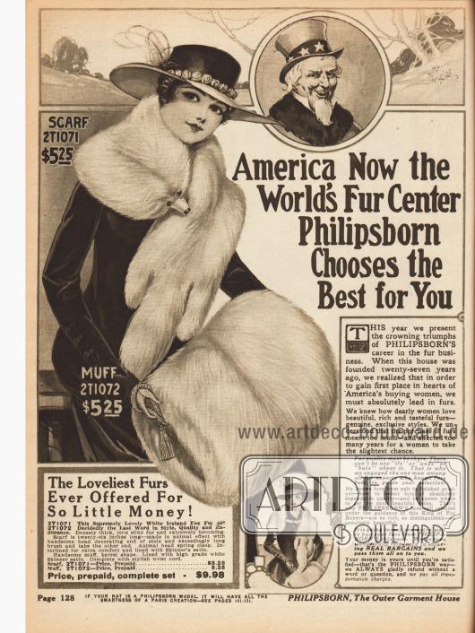 """""""America Now the World's Fur Center. Philipsborn Chooses the Best for You"""" (dt. """"Amerika nun das Zentrum des Weltweiten Pelzumschlags. Philipsborn wählt das Beste für Sie aus.""""). Beginn der Pelzabteilung des Versandhauskataloges. Auf dieser Seite befindet sich ein Pelzset bestehend aus Schal (Stola) und Muff aus Island Fuchs für zusammen 9,98 Dollar."""