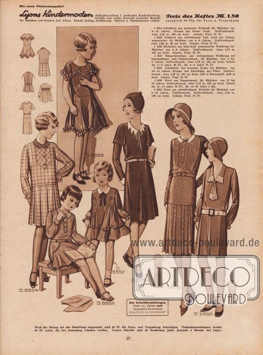 Kleidchen für kleine und ältere Mädchen von 2 bis 14 Jahren aus Wollstoff, Taft, Wollkrepp, Kasha, Noppentweed und Wollrips.Unter den Kleidchen befinden sich z.B. Schulkleidchen (links außen, drittes Kleid von rechts) und Hängerkleidchen für die ganz Kleinen (die beiden Kleidchen links unten).