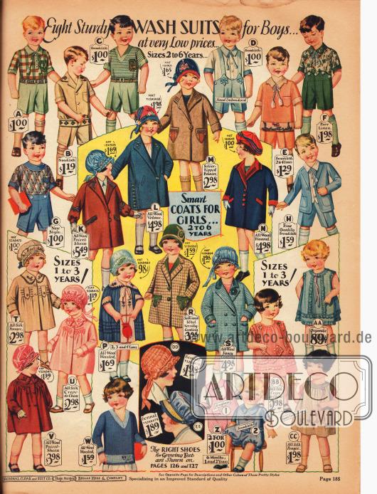 """Im oberen Bereich befinden sich waschbare Anzüge für 2 bis 6-jährige Jungen (A bis H) aus Baumwolle, Breitgewebe oder Leinen. Einzelne Anzüge sind bestickt.In der Mitte befinden sich Mäntelchen und ein gestrickter Umhang für 2 bis 6-jährige Mädchen (K bis N&#x3B; P, R und S). Diese sind aus reinen Wollgeweben, Woll-Velourleder, """"Polaire"""" (Wolle-Rayon Mischgewebe) und Woll-Flanell.Unten links sind Umhänge für 1 bis 3-jährige Mädchen und unten rechts Kleidchen für Mädchen im selben Alter. Auch ein Pullover (W), zwei Hauben (DD und EE) sowie Krabbelanzüge für 6 Monate bis 2-Jährige sind in der Mitte zu finden."""