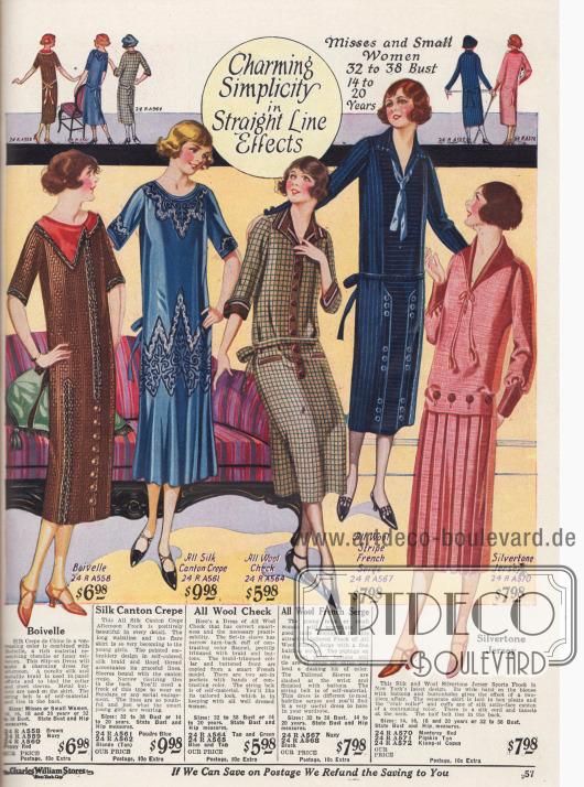 """Kleider mit """"geradlinigem Effekt"""" aus Boivelle, Seiden Krepp, Wollstoff, Woll-Serge und Jersey."""