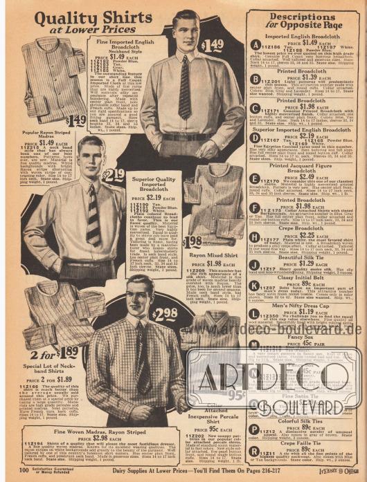 Feine Anzughemden aus gestreiftem Rayon-Madras, importiertem englischen Breitgewebe, bedrucktem Madras oder Perkal für Männer. Die Hemden werden teilweise mit angenähtem Kragen oder ohne Kragen geliefert.