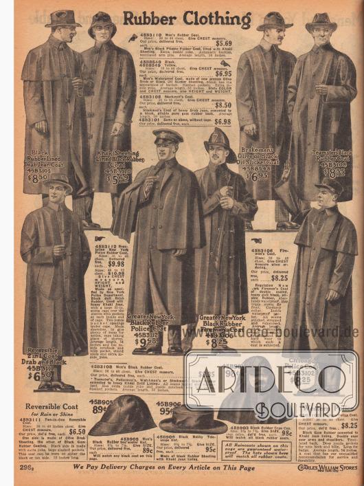 """""""Gummierte Kleidung"""" (engl. """"Rubber Clothing""""). Regenmäntel aus gummierten Geweben, Gummi oder Ölzeug für Männer oder wie im Speziellen hier suggeriert für Viehzüchter und Landwirte. Ein Modell für Feuerwehleute sowie zwei Regenmäntel in Anlehnung an die Mäntel der New Yorker und Chicagoer Polizei. Einzelne Modelle sind mit Khaki-Baumwollgewebe gefüttert, mit Cape oder Pelerine oder mit einem Belüftungsschlitz im Rücken versehen. Unten sind auch Regenhauben für Fischer, ein Regenhut und eine capeartige Sturmhaube im Angebot."""