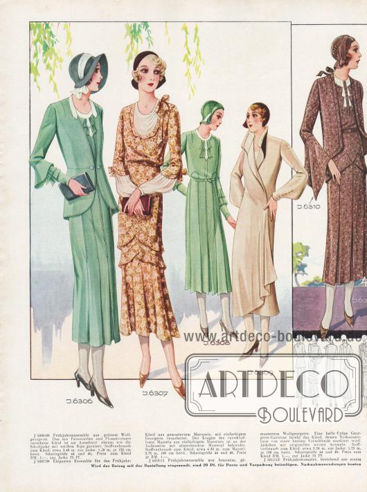 J 6306/08: Frühjahrsensemble aus grünem Wollgeorgette. Das mit Faltenteilen und Plisseevolants versehene Kleid ist am Ausschnitt ebenso wie die Schoßjacke mit weißem Rips garniert. Stoffverbrauch zum Kleid: etwa 3,40 m, zur Jacke: 1,20 m, je 130 cm breit. Schnittgröße 44 und 46, Preis zum Kleid RM. 1.-, zur Jacke 75 Pf. J 6307/09: Elegantes Ensemble für das Frühjahr: Kleid aus gemustertem Marocain, mit einfarbigem Georgette verarbeitet. Der Kragen des verschlußlosen Mantels aus einfarbigem Marocain ist an der Außenseite mit abstechendem Material bekleidet. Stoffverbrauch zum Kleid: etwa 4,30 m, zum Mantel: 3,75 m, 100 cm breit. Schnittgröße 44 und 48, Preis je RM. 1,-. J 6310/11: Frühjahrsensemble aus braunem, gemustertem Wollgeorgette. Eine helle Crêpe Georgette-Garnitur belebt das Kleid, dessen Rockansatzlinie von einer breiten Formblende markiert wird. Jäckchen mit originellen weiten Ärmeln. Stoffverbrauch zum Kleid: etwa 3,50 m, zur Jacke: 1,75 m, je 130 cm breit. Schnittgröße 44 und 48, Preis zum Kleid RM. 1.-, zur Jacke 75 Pf. [Seite 26d]