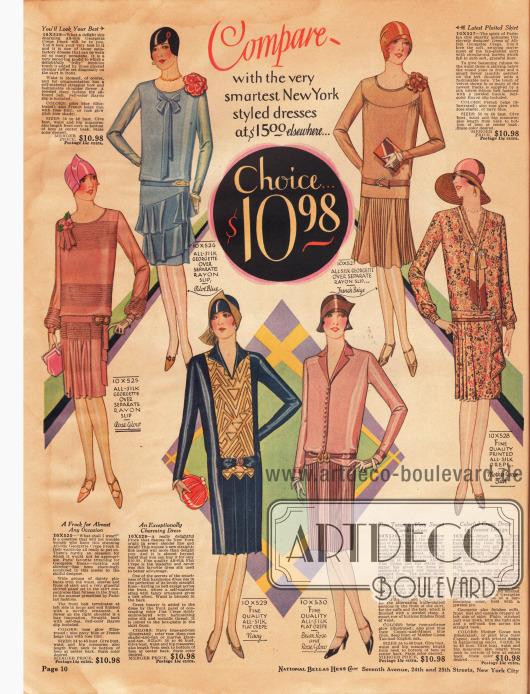 Elegante Damenkleider für das Frühjahr aus Seiden-Georgette über Unterkleidern aus Rayon, Seiden Krepp und bedrucktem Seiden Krepp. Jedes Kleid kostet 10,98 Dollar. Die Röcke werden entweder durch Falteneinsätze oder durch die Verarbeitung von Plissees erweitert. Schleifenarrangements am Ausschnitt und Kunstblumen an der Schulter sind 1928 besonders en vogue.
