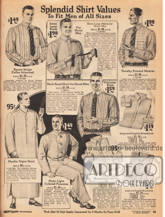 """Anzughemden mit fest vernähten Kragen für Herren (ein Modell mit Anknöpf-Kragen). Die Hemden sind aus farbig gestreiftem oder bedruckten Madras sowie importiertem englischen Breitgewebe. Die beiden mit Rahmen versehenen Modelle in der Mitte sind speziell für stärker gebaute Herren. Unten links sind ein langes Nachthemd aus Musselin und ein zweiteiliger Pyjama aus merzerisiertem Pongee. Die Pyjamajacke ist mit dekorativ gearbeiteten Schließen (engl. """"Rayon Frog Fastening"""") versehen."""