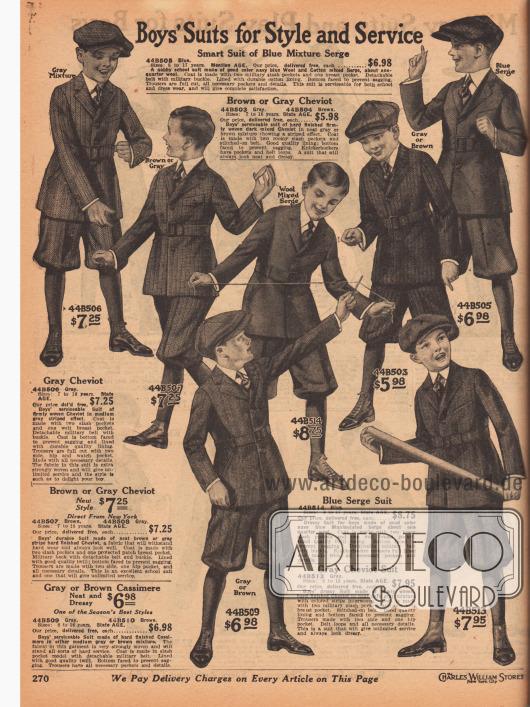 """""""Jungenanzüge mit Stil und Haltbarkeit"""" (engl. """"Boy's Suits for Style and Service""""). Widerstandsfähige Norfolk-Anzüge mit Taillengürtel, Brusttaschen und kurzen Hosenbeinen für Jungen im Alter zwischen 7 und 17 Jahren. Die Anzüge sind aus grauem oder braunem Cheviot oder marineblauem Baumwoll-Woll-Serge. Die Stoffe sind entweder in sich gemustert oder zeigen Heringsmuster sowie vertikale oder diagonale Streifenmuster."""
