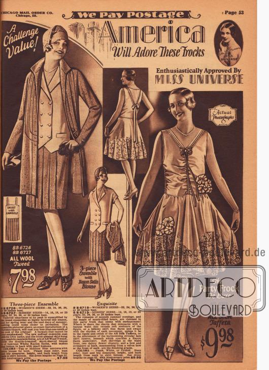 """""""Amerika wird diese Kleider über alles lieben – begeisterte Zustimmung von Miss Universe [1928, Ella van Hueson]"""" (engl. """"America Will Adore These Frocks – Enthusiastically Approved By Miss Universe""""). Echte Fotografien. Links ein dreiteiliges Ensemble bestehend aus ungefütterter, dreiviertellanger Jacke, kurzärmeliger, zweireihiger Bluse und Rock mit angenähtem Unterhemd. Die mit Biesen verzierte Jacke und der plissierte Rock sind aus Woll-Tweed, die Bluse und das Unterhemd aus Rayon-Satin. Rechts ein sommerliches Abendkleid mit bereits höherer Taille für Tanzabende aus Seiden-Taft. Das Oberteil des Ballkleides ist durch vernähte seitliche Kräuseln gerafft und besonders eng tailliert. Der Saum des Kleides ist durch viel Spitze ergänzt. Bandgarnitur, Blütengruppen und lange, zur Schleife gebundene Bänder im Rücken geben dem Modell besonderen Charme. Unter dem Kleid wird ein Unterkleid aus Rayon-Satin getragen."""