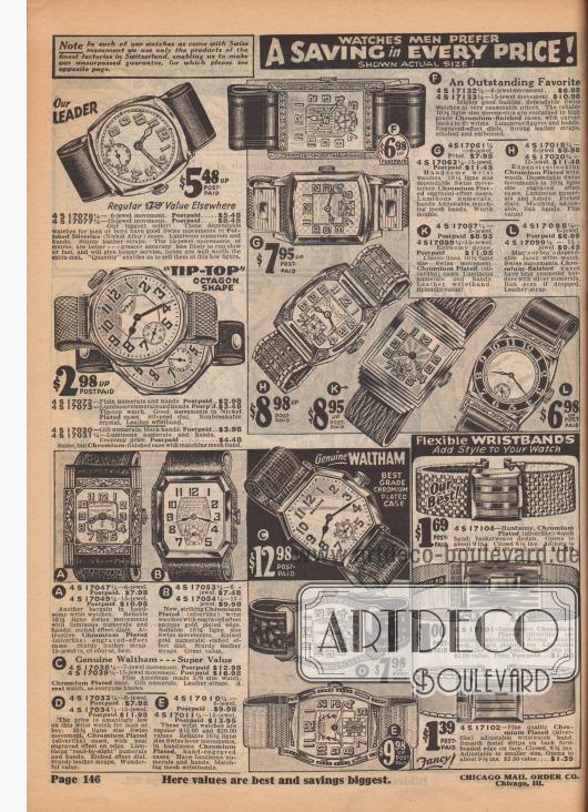 """UHREN, DIE MÄNNER BEVORZUGEN. Eine Ersparnis in JEDEM PREIS! Abgebildet in tatsächlicher Größe! Hinweis: Für unsere Uhren mit Schweizer Uhrwerk verwenden wir nur die Produkte der besten Fabriken in der Schweiz. Dies ermöglicht uns unsere unübertroffene Garantie zu geben. Siehe nebenstehende Seite.  4 S 17076¼ – 6 steiniges Uhrwerk. Portofrei… 5,48 $. 4 S 17077¼ – 15 steiniges Uhrwerk. Portofrei… 8,48 $. Regulärer Wert anderswo 7,50 $. Unser bestverkaufendes Modell! Diese zuverlässigen Uhren für Männer oder Jungen haben gute Schweizer Uhrwerke in polierten Silverine (Nickel Legierung) Gehäusen. Leuchtziffern und -bänder. Robuste Lederarmbänder. Die 15-steinigen Uhrwerke sind natürlich besser – mit größerer Genauigkeit und einer geringeren Wahrscheinlichkeit, um langsamer oder schneller zu laufen. Es wird längeren Dienst leisten, weshalb die zusätzlichen Kosten sich bezahlt machen werden. Die """"Quantität"""" ermöglicht es uns, sie zu diesem niedrigen Preis zu verkaufen. 4 S 17072 – Klare Ziffern und Zeiger. Portofrei… 2,98 $. 4 S 17073 – Leuchtziffern und -zeiger. Frankiert… 3,48 $. Spitzen Uhr in Achteckform. Gute Uhrwerke in vernickelten Gehäusen. Versilbertes Zifferblatt. Unzerbrechliches Glas. Lederarmband. 4 S 17030 – Vergoldete Ziffern, schwarze Zeiger. Portofrei… 3,98 $. 4 S 17031¼ – Leuchtende Ziffern und Zeiger. Sparpreis, frankiert… 4,48 $. Dasselbe, aber verchromtes Gehäuse mit passendem Metallmaschen-Armband.  (A) 4 S 17047¼ – 6 Steine. Frankiert… 7,98 $. 4 S 17049¼ – 15 Steine. Frankiert… 10,98 $. Ein weiteres Schnäppchen an hübschen Armbanduhren. Zuverlässige 10½ Ligne große Schweizer Uhrwerke mit Leuchtziffern und -zeigern; Zifferblätter mit Ätzeffekt. Attraktive verchromte (silberähnliche) Gehäuse mit Gravur. Das Robuste Lederband mit 15 Steinchen Uhrwerk ist natürlich das Beste. (B) 4 S 17053¼ – 6 Lagersteine… 7,48 $. 4 S 17054¼ – 15 Lagersteine… 9,98 $. Neue, auffällige, verchromte (silberähnliche) Armbanduhren mit Gravur-Effekt und antikvergoldetem Rand"""