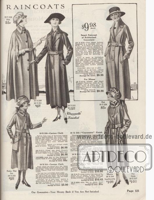 Regenmäntel und Umhänge für große und kleine Damen aus gummiertem Cantonstoffen und Granatone für bis zu 15,00 $.