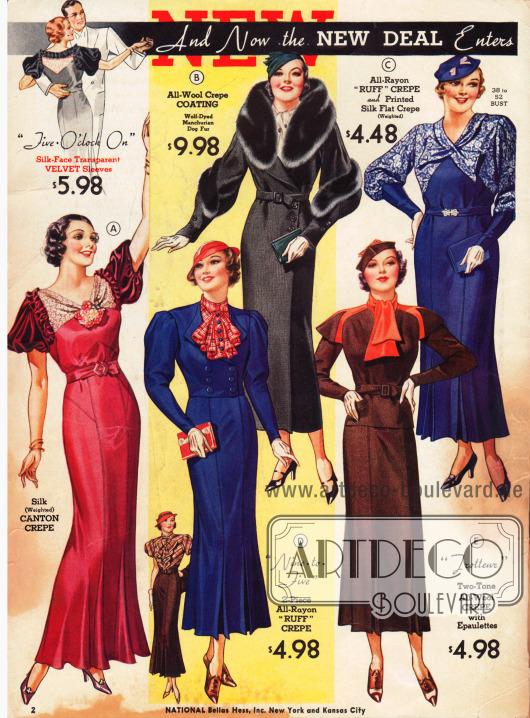 """Die neue """"New Deal"""" Politik verspricht bessere Zeiten. Mantel und Kleider für verschiedene Anlässe."""