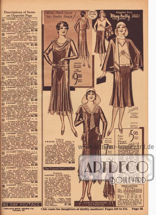 2 B 6739 (Valerie): Elegantes Tanz- und Partykleid aus Seiden-Georgette für 13 bis 19-jährige Backfische. Kleid mit drapiertem Halstuch-Kragen, Schleife und Kunstblüte. Geraffte Taille. Unterkleid aus Rayon-Breitgewebe. 2 B 6736 (Roberta): Besonders schönes Nachmittagskleid aus Seiden-Krepp für junge Frauen im Alter von 13 bis 19 Jahre. Ausschnitt mit Fichu-Kragen aus Spitze. Kleid mit bogigem Schultercape, geraffter Taille, Schleifen mit neuartigen Ornamenten, Biesen und zipfelig glockigem Rock. 2 B 6741 (Margot): Umhang-Ensemble aus Rayon-Krepp und Baumwolle nach einer Interpretation des Pariser Modehauses Mag-Helly für jugendliche Frauen von 13 bis 19 Jahre. Umhang mit verlängertem Rücken, Paspelierung und Kragen mit langen, weißen Überwurf-Schalenden. Bluse mit kurzen, angeschnittenen Ärmelchen und Biesen. Weißer Stoffgürtel aus Krepp. Ausgestellter Rock vorne; hinten glatt.
