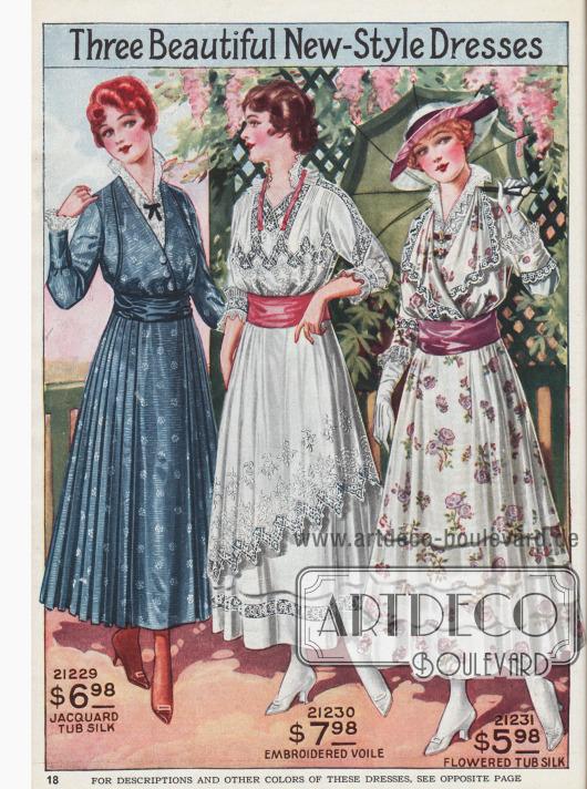 Sommerkleider aus verschiedenen Seidenstoffen.