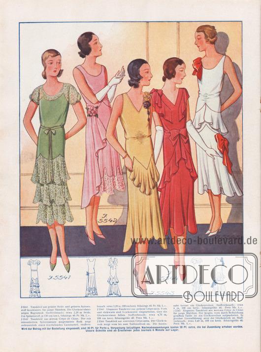 Tanzkleider für junge Mädchen aus grüner Seide, altrosa Crêpe de Chine, gelbem und rostrotem Crêpe-Satin, die zum Teil mit Spitzenstoff kombiniert sind (Modelle 1 & 2).Glockenröcke, Volants im Schoßbereich und überfallende Garniturteile (Kleid in Altrosa) sind an allen Kleidern zu finden. Schleifen in verschiedenen Größen und Blütentuffs dienen als Garnierung.