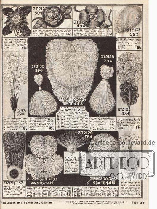 Doppelseite mit verschiedenen Federn- und Blütenarrangements zum aufputzen von Hüten (siehe Seite 154-155). Straußen- und Marabufedern, Federn- und Blütenranken, Pelzringe, Samtblüten und andere Garnituren stehen zur Auswahl.