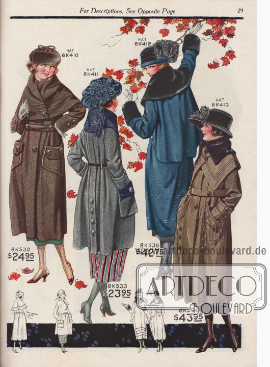 """Herbst- und Wintermäntel für junge Frauen zwischen 15 und 19 Jahre zu Preisen von 23,95 bis 43,95 Dollar. 8K530 / 8K531 / 8K532: Mantel aus Wollgewebe mit eingewebten silberfarbigen Fäden (engl. """"Wool Silvercloth""""). Breites Directoire-Cape mit drei Reihen Paspel, das offen getragen oder zugeknöpft werden kann. Mantelrücken mit zwei invertierten Falten, die ein Paneel bilden. 6K410: Turban aus Biber-Webpelz mit Seiden-Kordel und Pompon für 3,98 Dollar. 8K533 / 8K534: Mantel aus Woll-Polo-Gewebe, bestellbar in Grau mit Marineblau oder Mittelbraun mit Braun. Die Rückseite des Stoffes zeigt eine kontrastierende Farbe und ist mit dieser Seite für Kragen, Revers und Taschenklappen verarbeitet. Abgenähte Kellerfalte im Rücken mit Knopfgarnitur. Schmaler Ledergürtel mit Schließe. Abgesteppter Kragen. 6K411: Schottenmütze aus Seiden-Samt mit Schnurverzierung, Kordel, Posament und langer Quaste für 3,98 Dollar. 8K535 / 8K536 / 8K537: Mantel mit tiefem Rückencape aus mittelschwerem Woll-Velours mit starkem Futter. Kragen und Manschetten mit Verbrämung aus schwarzem """"Sealine Fur"""" (auf Robben- bzw. Seehundfell geschorenes und gefärbtes, australisches Kaninchenfell). Mantelsaum mit Schnurverzierung. 6K412: Turban aus Seiden-Samt mit Straußenfeder-Arrangement zum Preis von 4,98 Dollar. 8K538 / 8K539 / 8K540: Mantel aus Woll-Duvetine mit einem breiten, beidseitig spitz zulaufenden Cape-Kragen, der mit Stepperei und echtem """"Sealine Fur"""" verbrämt ist. Im Rücken formen Paspeln ein Paneel. Manteltaschen und Manschetten mit reicher Seiden-Stepperei. Buntes Seiden-Satin de Chine als Futter. 6K413: Damenhut aus Seiden-Samt mit flauschigen Straußenfedern als Aufputz zum Preis von 3,98 Dollar."""