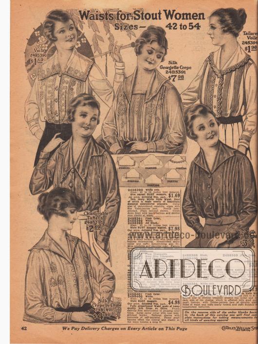 """""""Blusen für stärker gebaute Damen"""" (engl. """"Waists for Stout Women""""). Die Blusen sind aus Voile (Schleierstoff), Seiden-Georgette Krepp, farblich changierendem Taft oder japanischer Seide hergestellt. Breite Schulterkragen (Matrosenkragen) sind en vogue. Die Blusen sind mit vertikalen Biesen, flächigen Stickereien, Hohlnähten, Zierknöpfen oder Spitzenkanten versehen."""