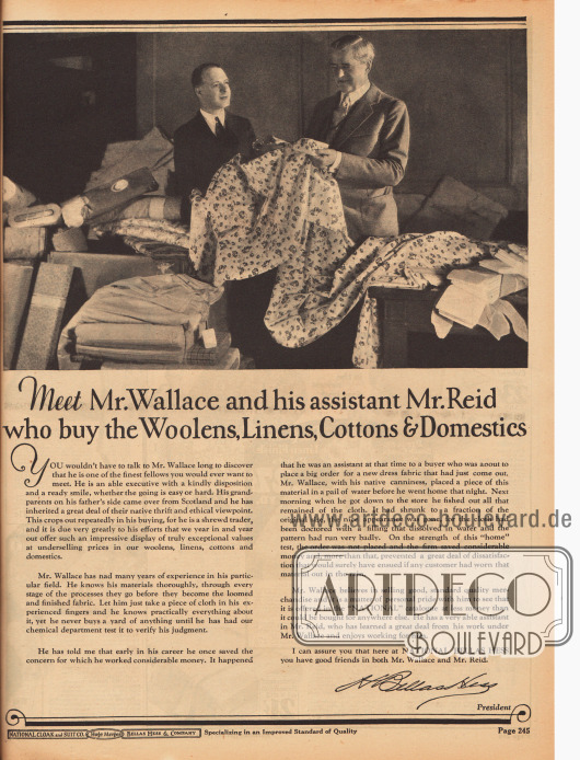 """""""Treffen Sie Mr. Wallace und seinen Assistenten Mr. Reid, die die Wollstoffe, Leinen, Baumwollstoffe und andere Dienstbarkeiten einkaufen"""" (engl. """"Meet Mr. Wallace and his assistant Mr. Raid who buy the Woolens, Linens, Cottons & Domestics"""").Der Einkäufer Mr. Wallace und sein Assistent werden hier vorgestellt, um bei den Kundinnen Vertrauen zu schaffen, die eine gewisse persönliche Verbindung zu National Bellas Hess Inc. und ihren Mitarbeitern herzustellen."""