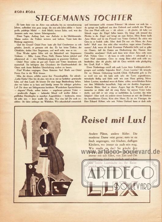 Artikel:Roda Roda, Stegemanns Töchter.Werbung:Lux Waschmittel für die Reise.