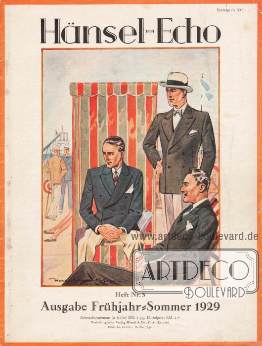 Titelseite der Frühjahr/Sommer Ausgabe des Firmenmagazins Hänsel-Echo Nr. 5 von 1929. Zeichnung: Harald Schwerdtfeger.