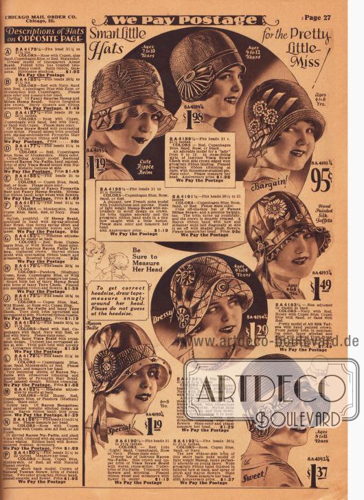 """""""Pfiffige kleine Hüte für die hübsche junge Dame"""" (engl. """"Smart Little Hats for the Pretty Little Miss!""""). Auf der Seite werden sieben Hüte für Mädchen für 4 bis 14-jährige Mädchen angeboten. Die Hüte sind aus Hanfgeflecht, Visca-Stroh, schimmerndem Mailänder Stroh, Seiden-Taft, seidigem Visca-Stroh und Rayon Faille. Ripsbänder, aufgestickte Kunstblumen, Blätter und Ornamente, Hutnadeln mit Strasssteinen und Applikationen geben jedem Hütchen eine individuelle Note."""