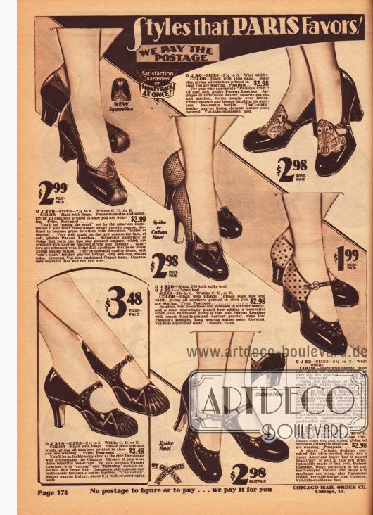 Damenpumps und Schnallenschuhe mit mittelhohen, spitzen und kubanischen Absätzen. Alle Modelle sind aus Lackleder und teilweise mit andersfarbigen oder genarbten Ledersorten kombiniert worden. Dekorative Ausstanzungen, Perforationen und Ziernähte sowie kleine Schleifen und Schnallen verschönern die Schuhe.