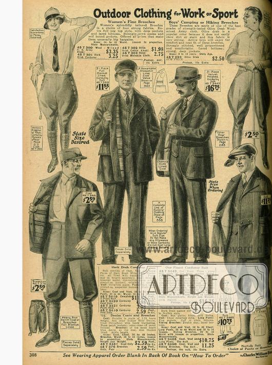 Freiluft-Kleidung für Arbeit und Sport: Kordjacken, Kordhosen, Kniehosen für Männer und auch Frauen (oben links) aus Jeansstoff, Kaki und Kord.
