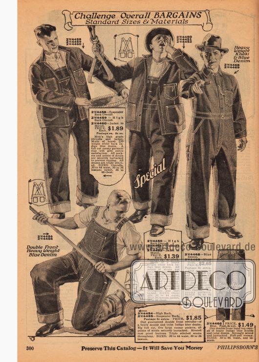 Arbeitskleidung für Männer bestehend aus Overalls, Jacken und Hosen aus blauem Jeansstoff oder Khaki.