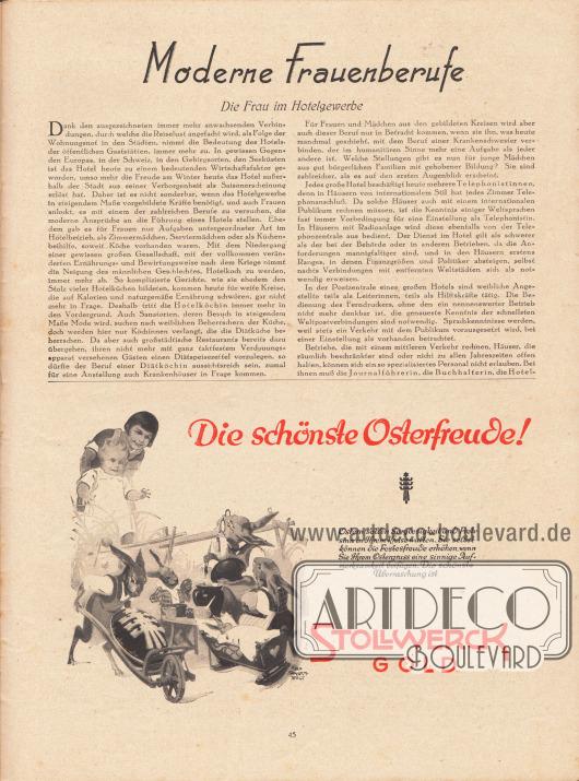 """Artikel:O. V., Moderne Frauenberufe. Die Frau im Hotelgewerbe.Werbung:""""Die schönste Osterfreude!"""", Stollwerck Gold.Zeichnung/Illustration: Felix Schwormstädt (1870-1938)."""