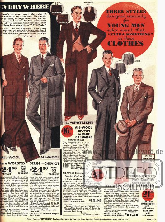 Modische Herrenanzüge. Zwei Modelle mit den charakteristischen neuen Spitzen Schultern und weiten Hosen.