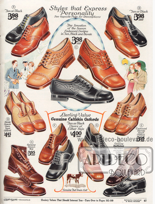 """Sehr elegante Herrenschuhe (Derbys, Oxfords und Stiefeletten) mit kantigen Kappen für Straße, Geschäft oder auch für die Freizeit. Die Halbschuhe sind aus Kalbsleder und anderen Ledersorten in den Farben Beige, Hellbraun, Braun, Dunkelbraun und Schwarz. Zwei Modelle sind mit zwei unterschlich gefärbten Ledern kombiniert (""""Two-tone oxfords"""", D, E) und für Golf oder zum Flanieren im Kurort ideal. Einige Exemplare sind kunstvoll geprägt (C, E) oder mit Mehrfach-Ziernähten verschönt. Manche zeigen eine Lochlinienverzierung, also ornamentale Perforation, über der Querkappe (A, D, E, H, J). Alle Herrenschuhe sind Rahmenvernäht (""""Goodyear welted"""")."""